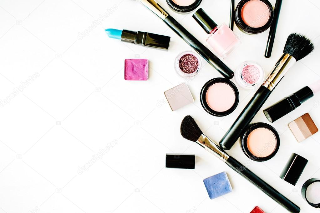 Flat Lay Female Cosmetics Stock Photo