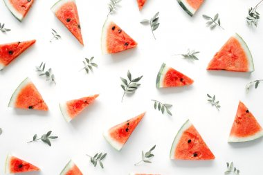 Watermelon pieces and leaves pattern