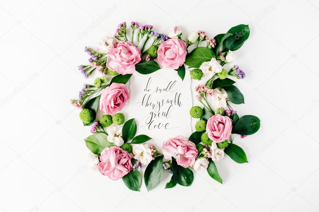 inspirational quote in flowers frame — Stock Photo © maximleshkovich ...