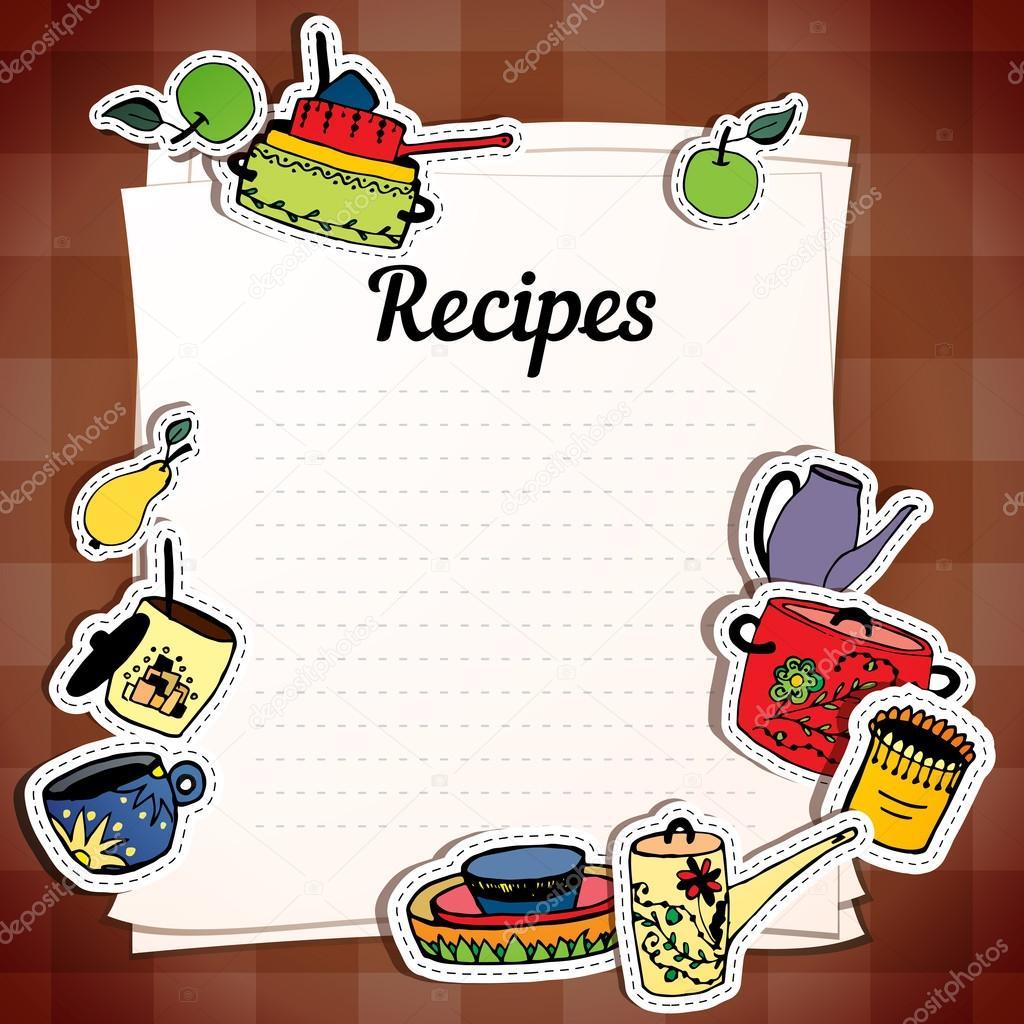 Vector: recetas | Hojas para el registro de recetas. Utensilios de ...