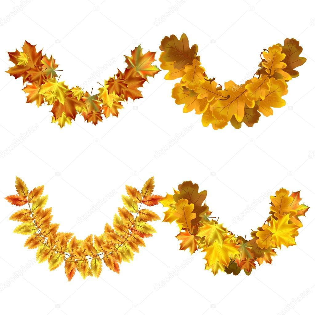 Conjunto de vector de otoño hojas Marcos redondeos. Colección otoño ...