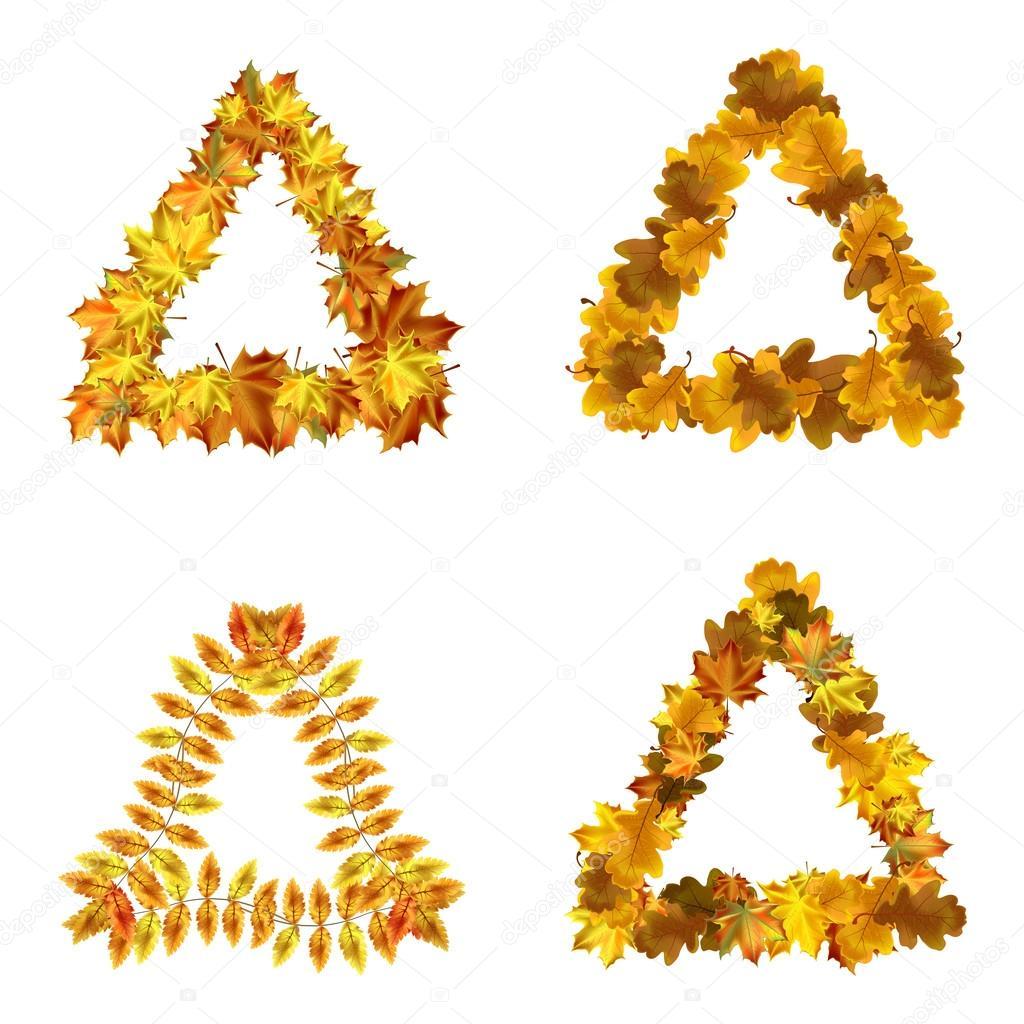 Conjunto de vector de otoño hojas marcos de triángulo. Colección ...
