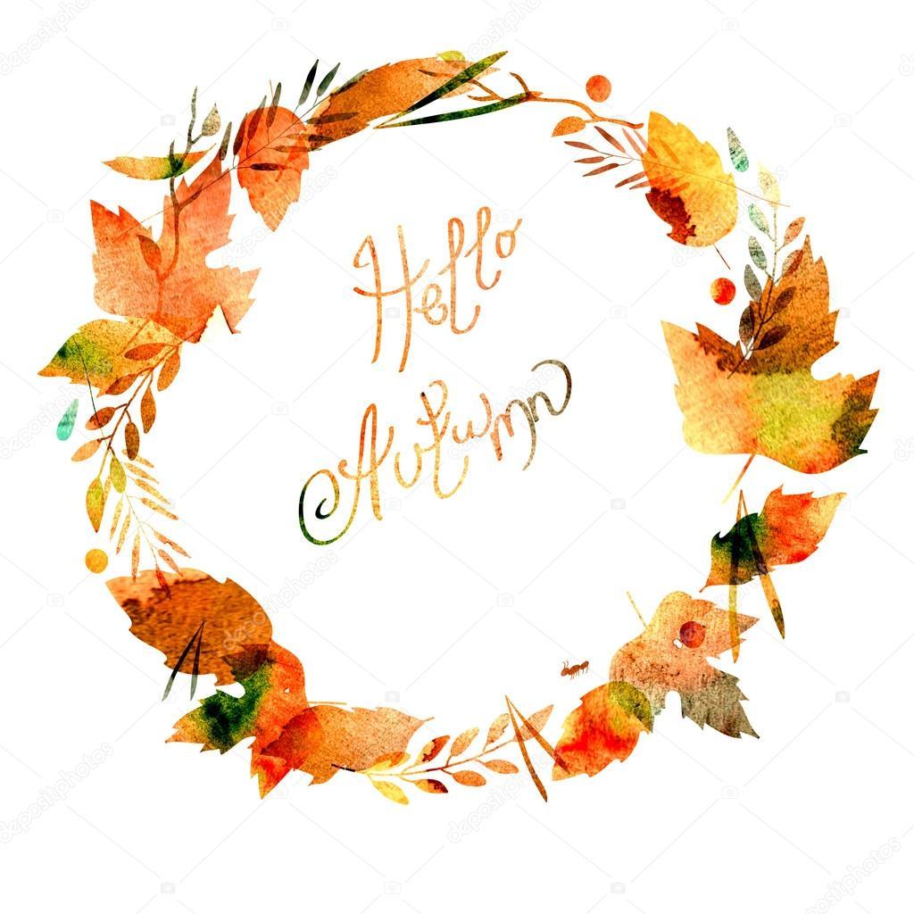 Őszi keret, levelek, bogyók, ágak, őszi elemek. Hello őszi felirat. akvarell ...