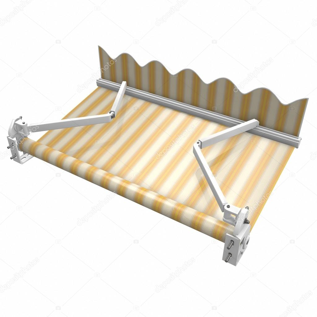 Awnings, marques patio Basis. 3d illustration