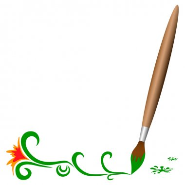 Wooden brush with green flowers