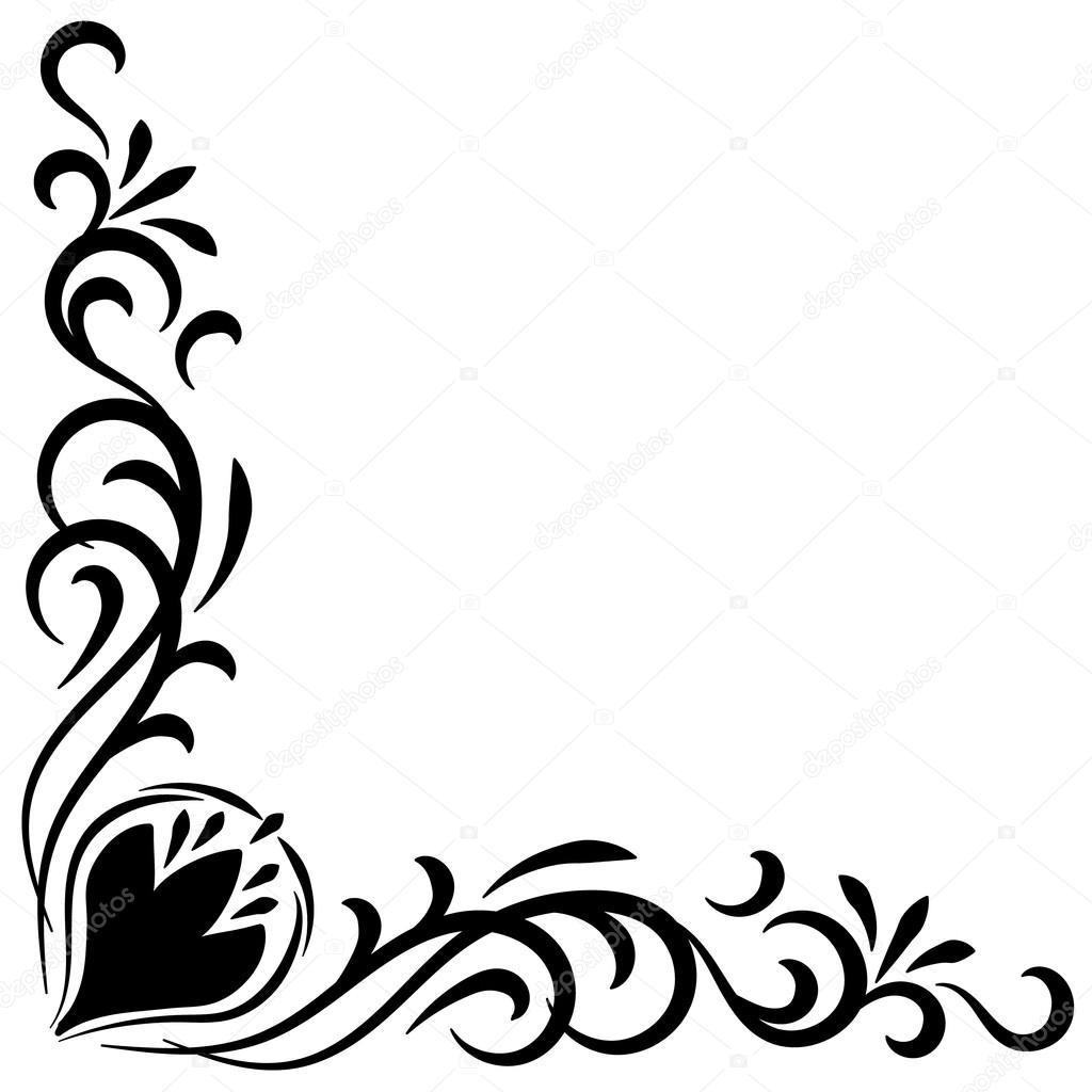 Doodle black handdrawn flower corner frame — Stock Vector ...
