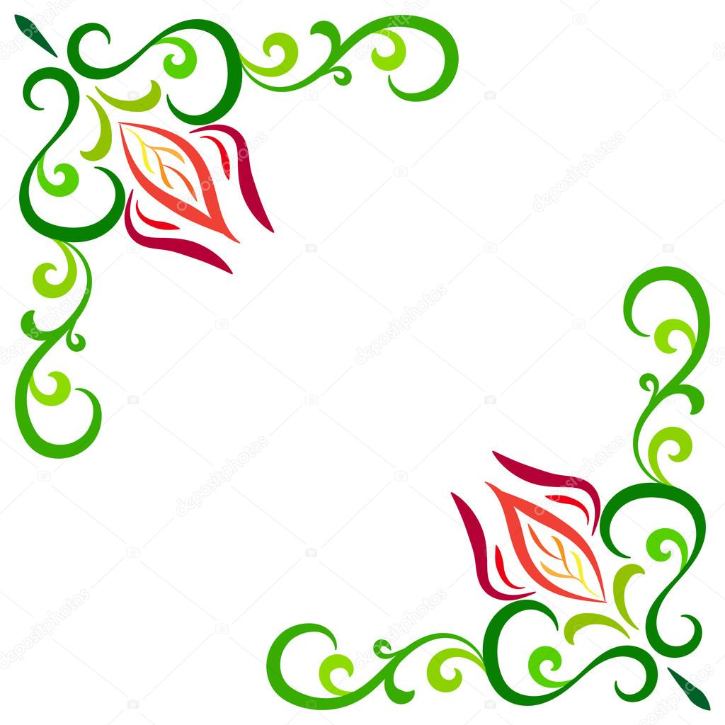 Marco de esquina Doodle color flor abstracta — Vector de stock ...