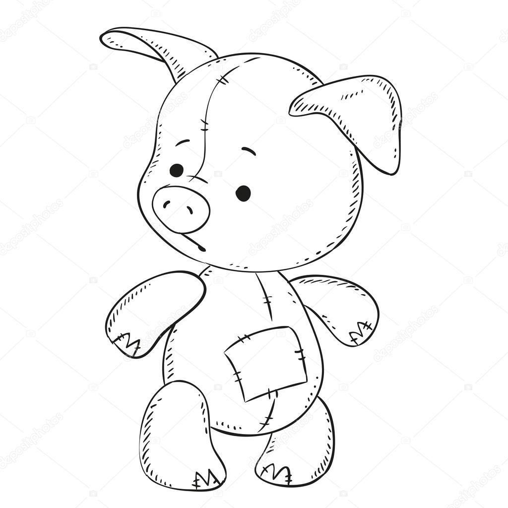 Juguete del cerdo lindo. Contorno negro para colorear libro ...