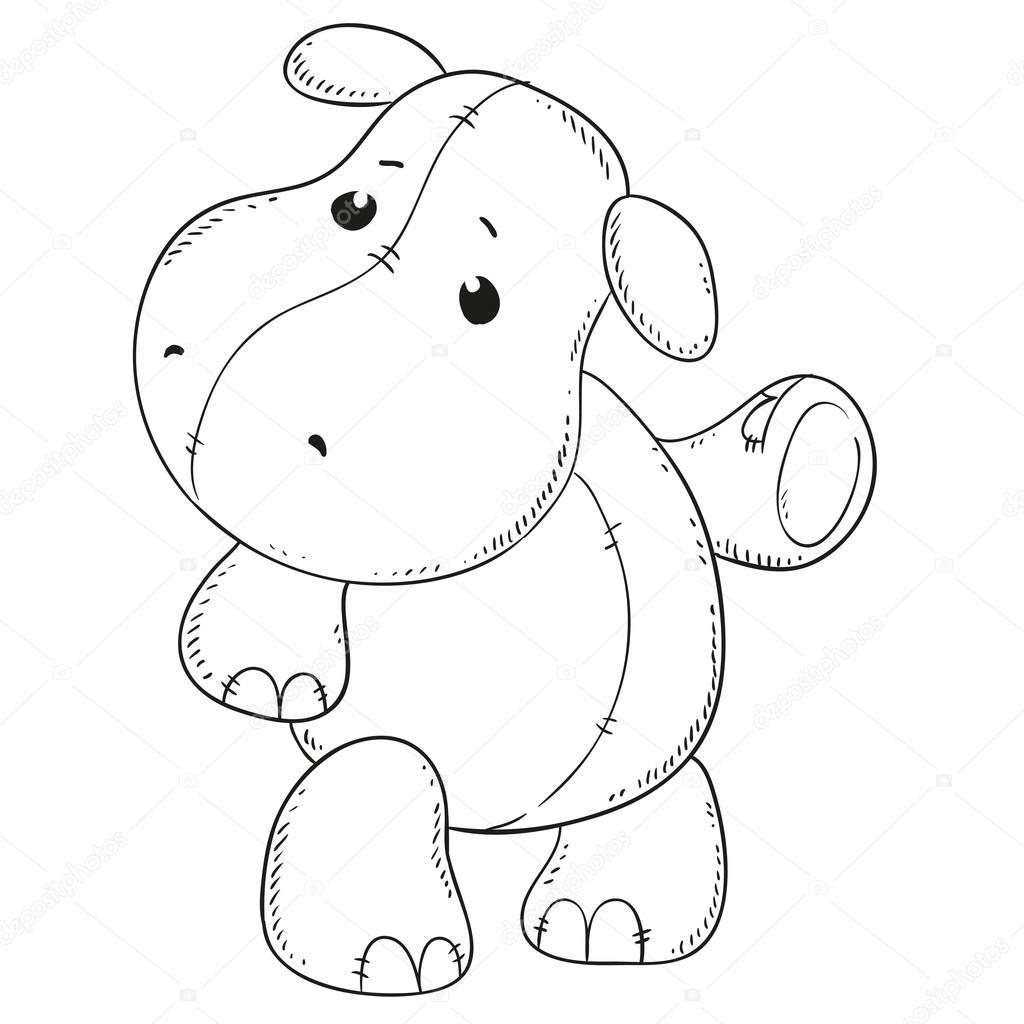Lindo hipopótamo. Contorno negro para colorear libro. Contorno de ...