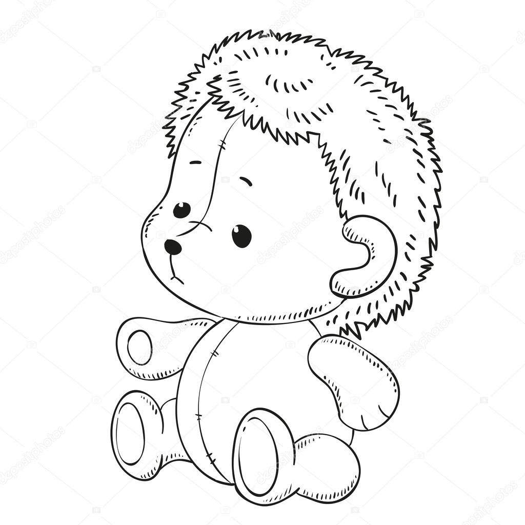 Toy Cute Hedgehog Black Outline For Coloring Book Vector Contour