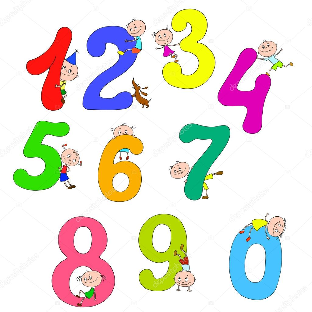 a set of numbers with the children cheerful children playing with numbers cartoon color numbers vector by hibou sun - Color Numbers