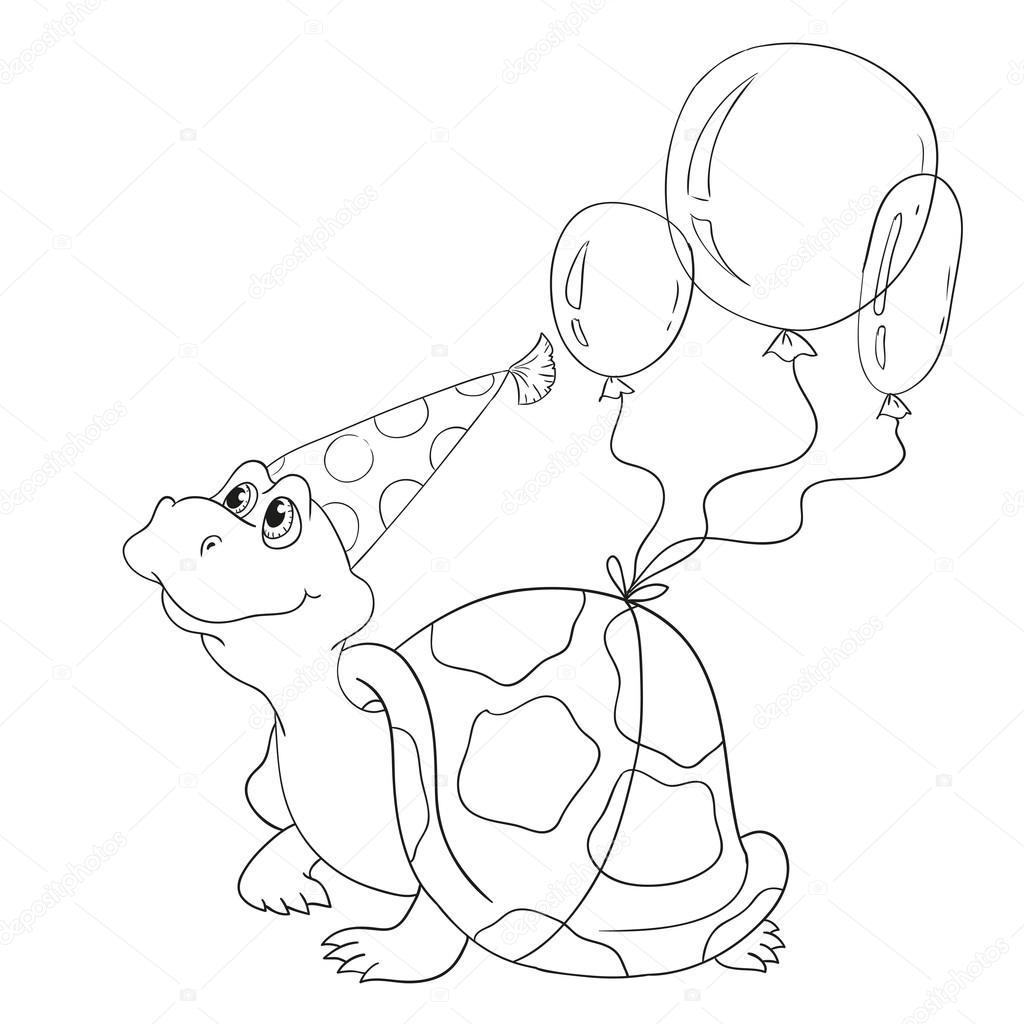 çizgi Film Kaplumbağa Boyama Kitabı Için Siyah Ve Beyaz Vektör
