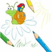 Funny cartoon snail and pencils. Vector illustration on white background.
