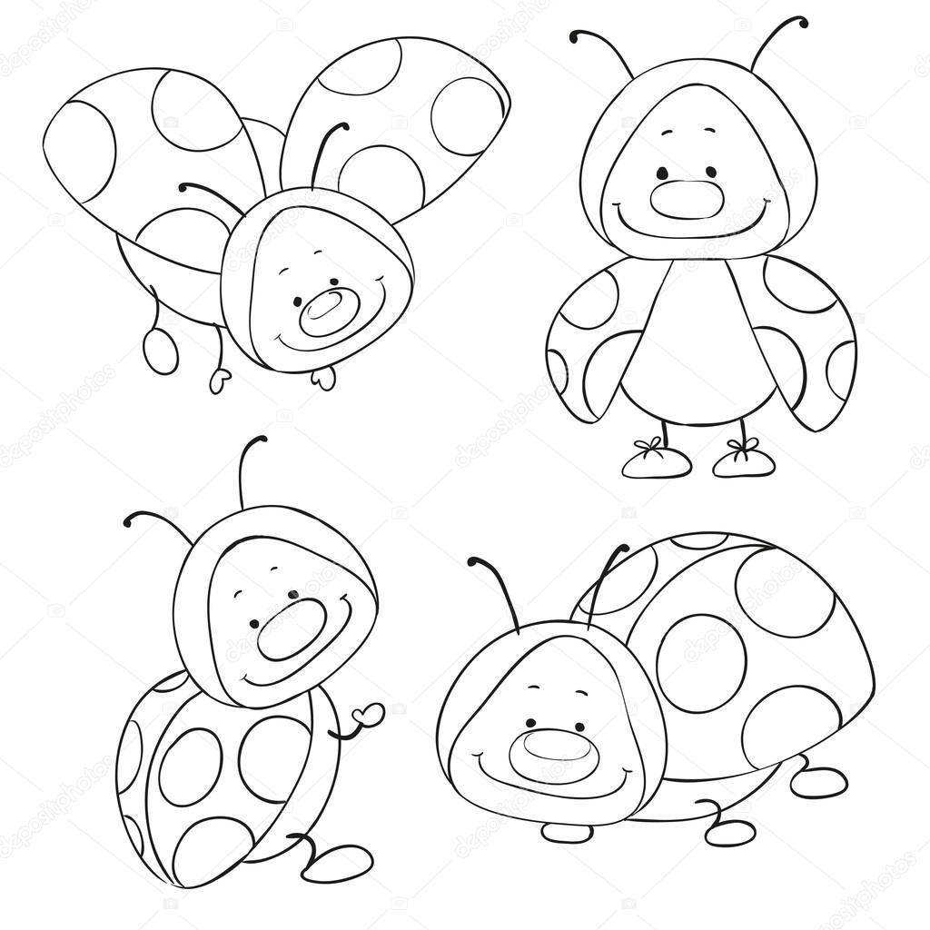 Cartone animato coccinelle per libro da colorare insetti