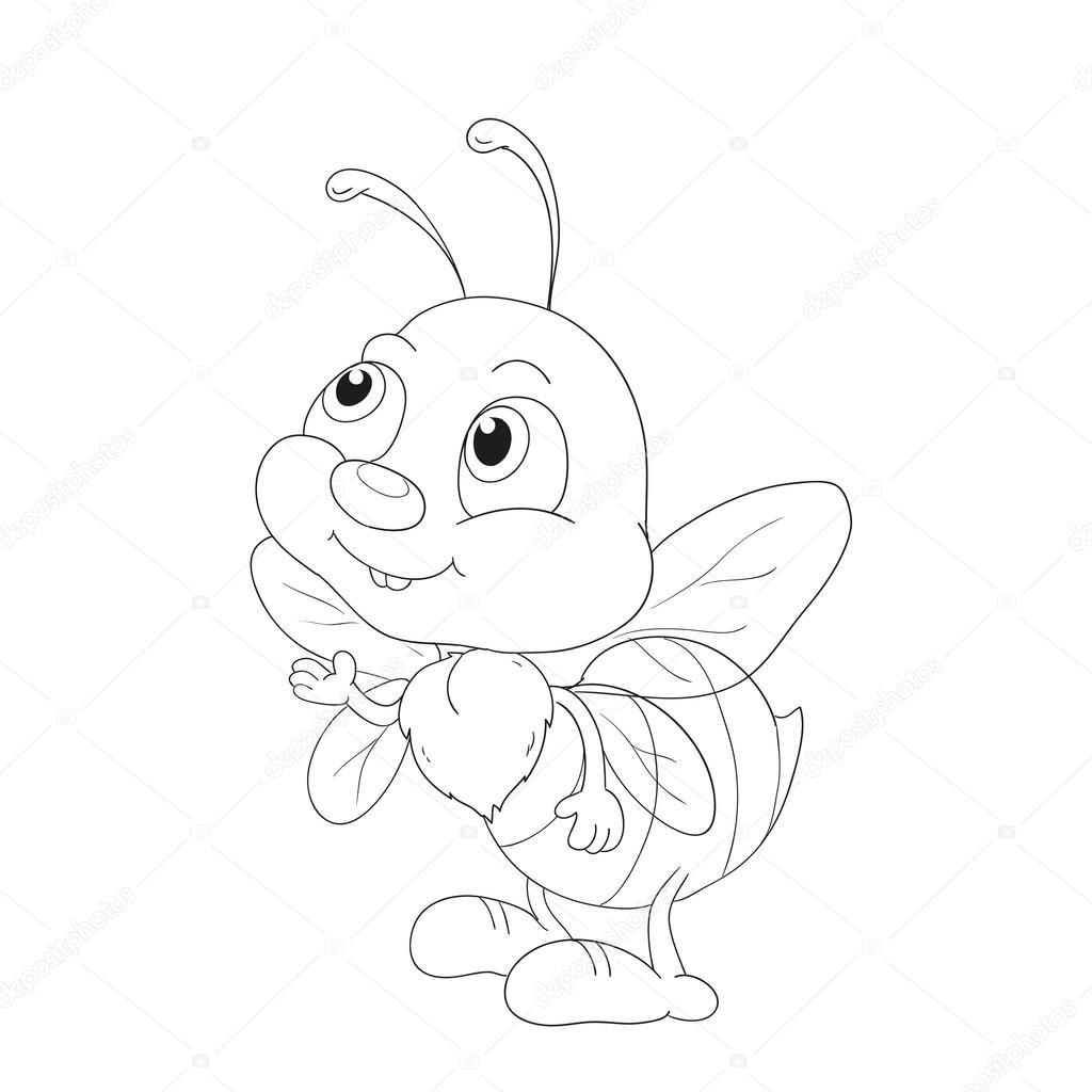 蜂の漫画のキャラクター塗り絵の ストックベクター Hibou Sun