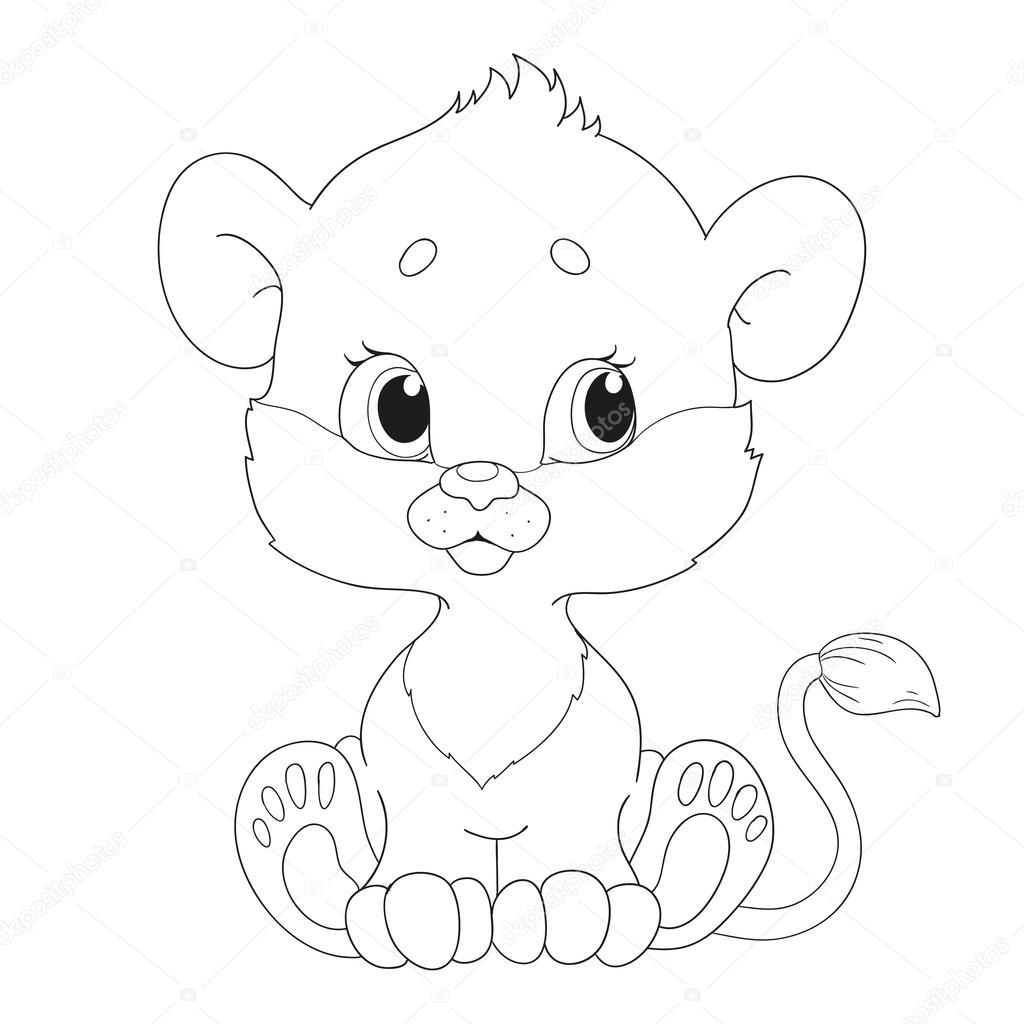 Sevimli Küçük Aslan Yavrusu Karakter Boyama Kitabı Stok