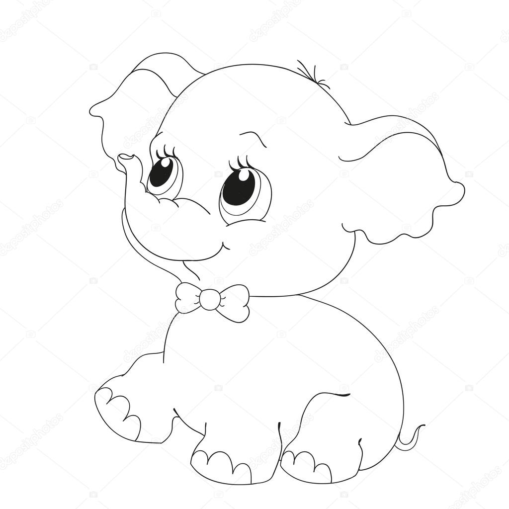 Cute Elephant Character Coloring Book Vector Stock Vector