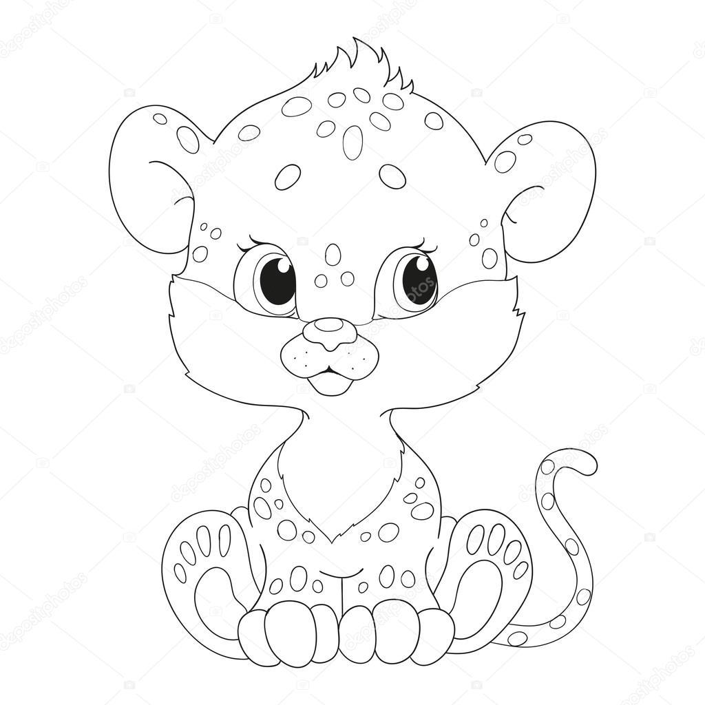 Leopardo del bebé lindo. Vector de libro para colorear — Archivo ...