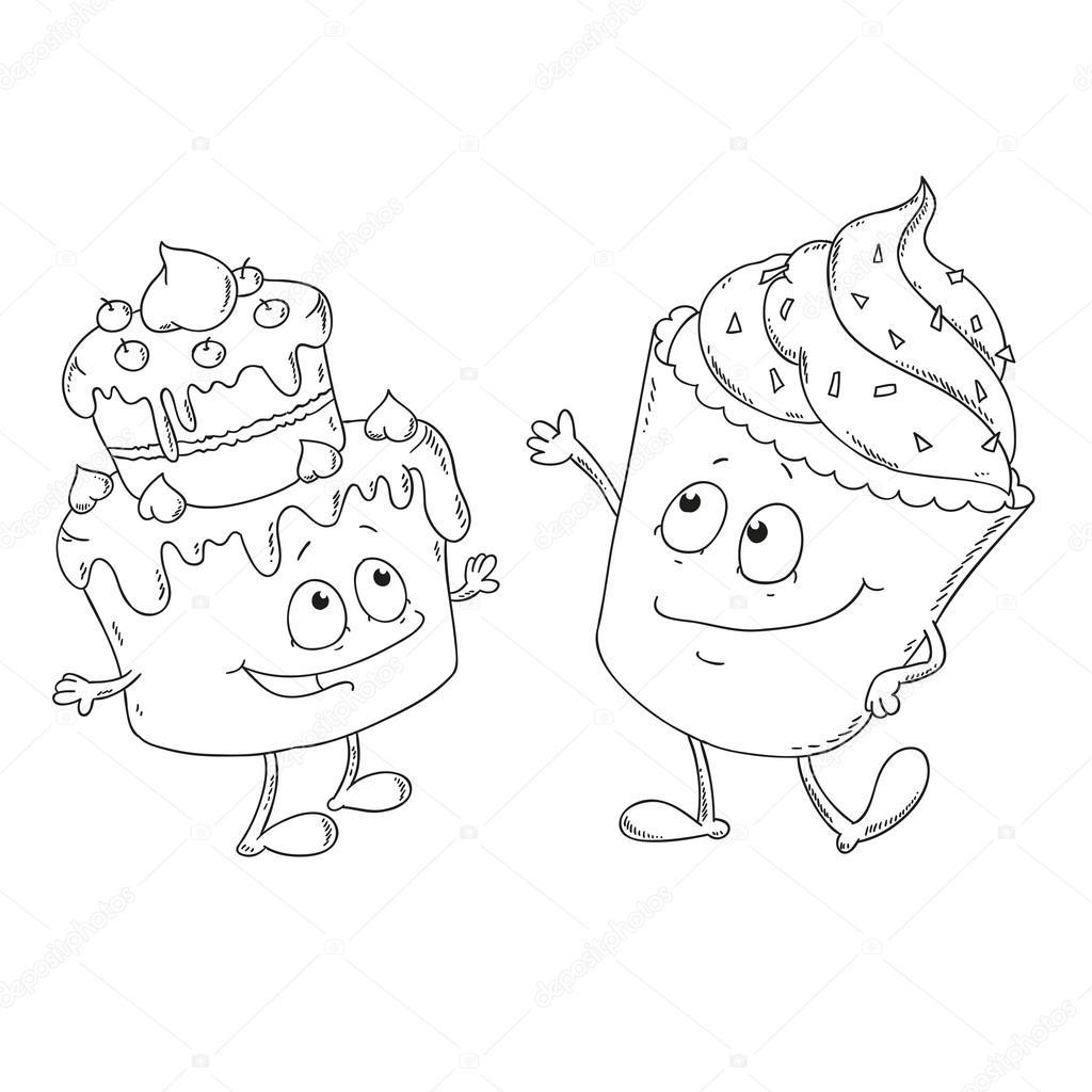 Cupcakes para colorear libro — Archivo Imágenes Vectoriales © hibou ...