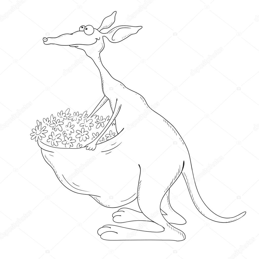 Neşeli Kanguru Boyama Kitabı Vektör Stok Vektör Hibou Sun