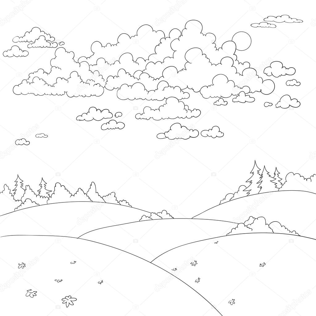 Summer landscape for coloring book. 10