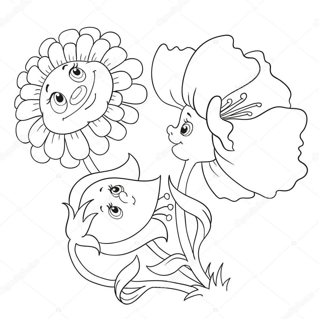 Animado Flor Dibujo Para Colorear Personajes De Dibujos Animados