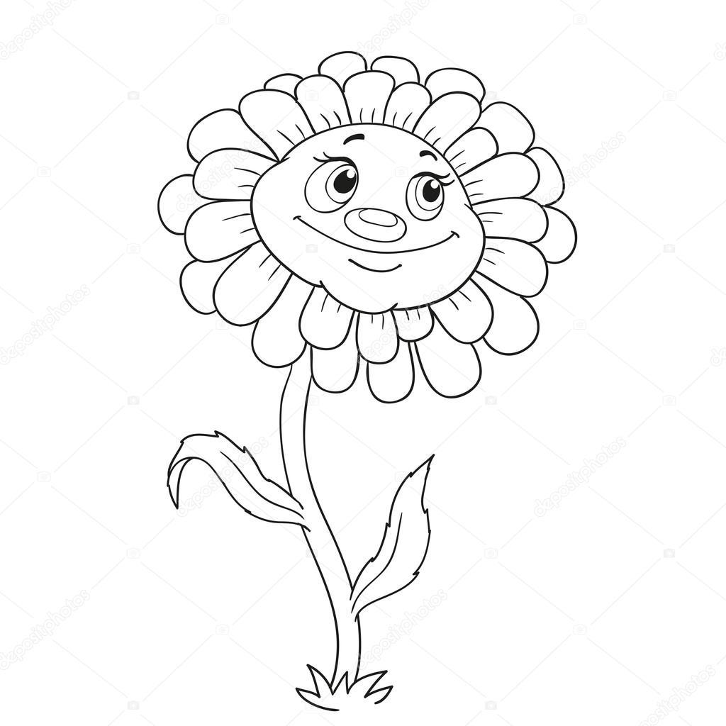 çizgi Film Karakteri çiçek Boyama Kitabı Için Stok Vektör Hibou