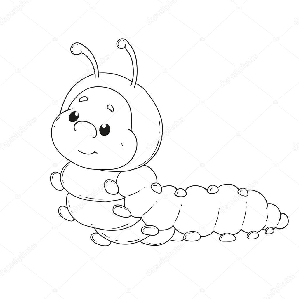 Caterpillar de personaje de dibujos animados. Alegre gusano de libro ...