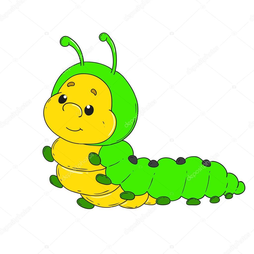 Bruco di personaggio dei cartoni animati vettore verme