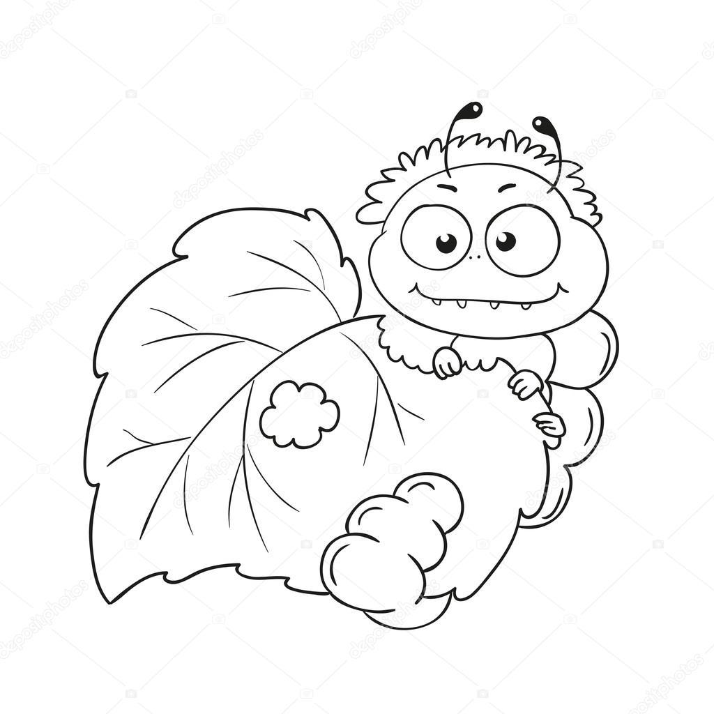 Komik Caterpillar Yaprakları Yiyor Boyama Kitabı Için Karakter