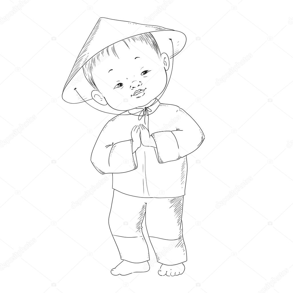 Imágenes: niña china para colorear | Niño chino. Libro de colorear