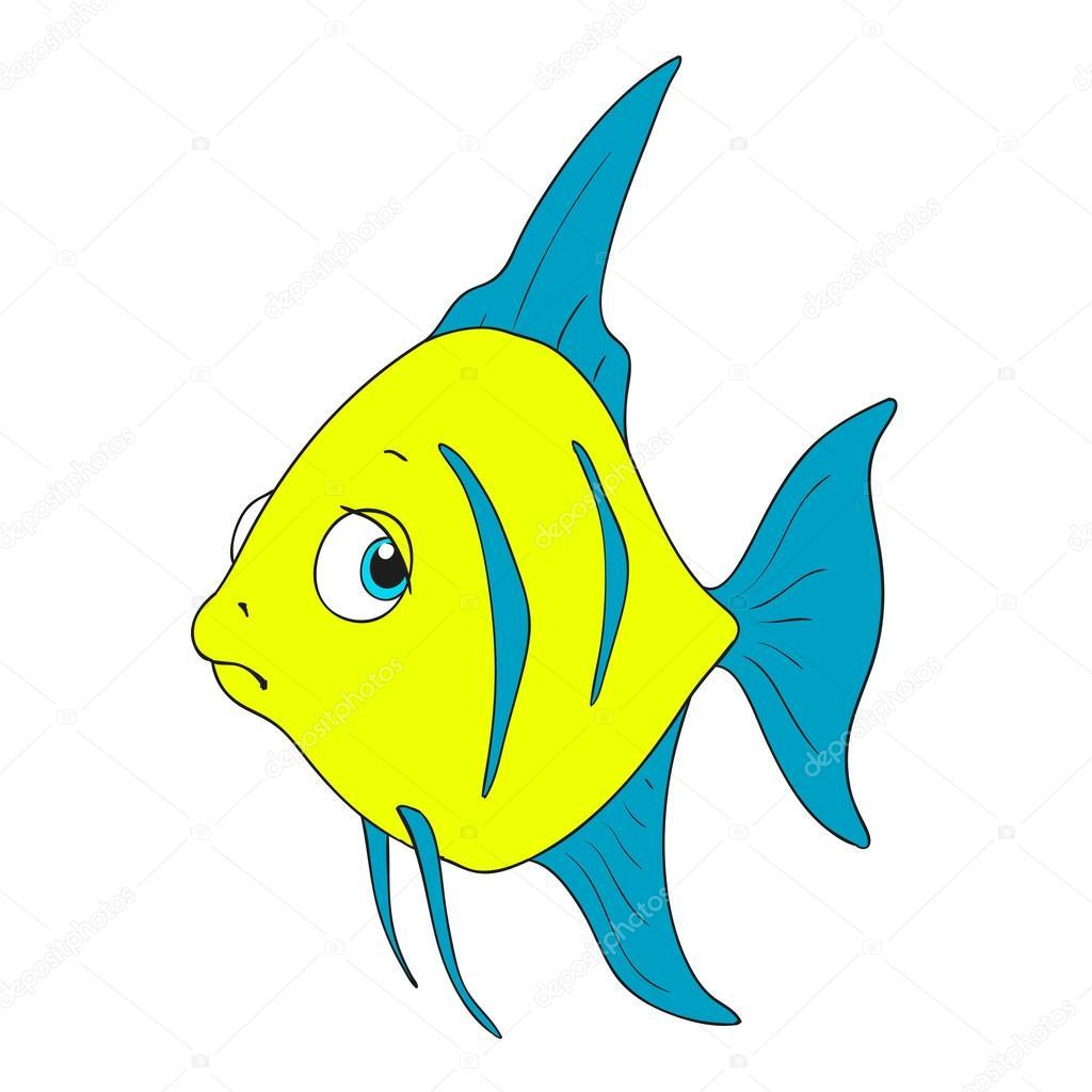 pez triste personaje peces de dibujos animados de vector