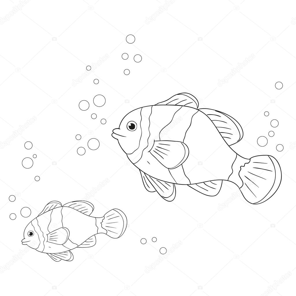海産魚のベクトル文字塗り絵の魚の概要 ストックベクター Hibou