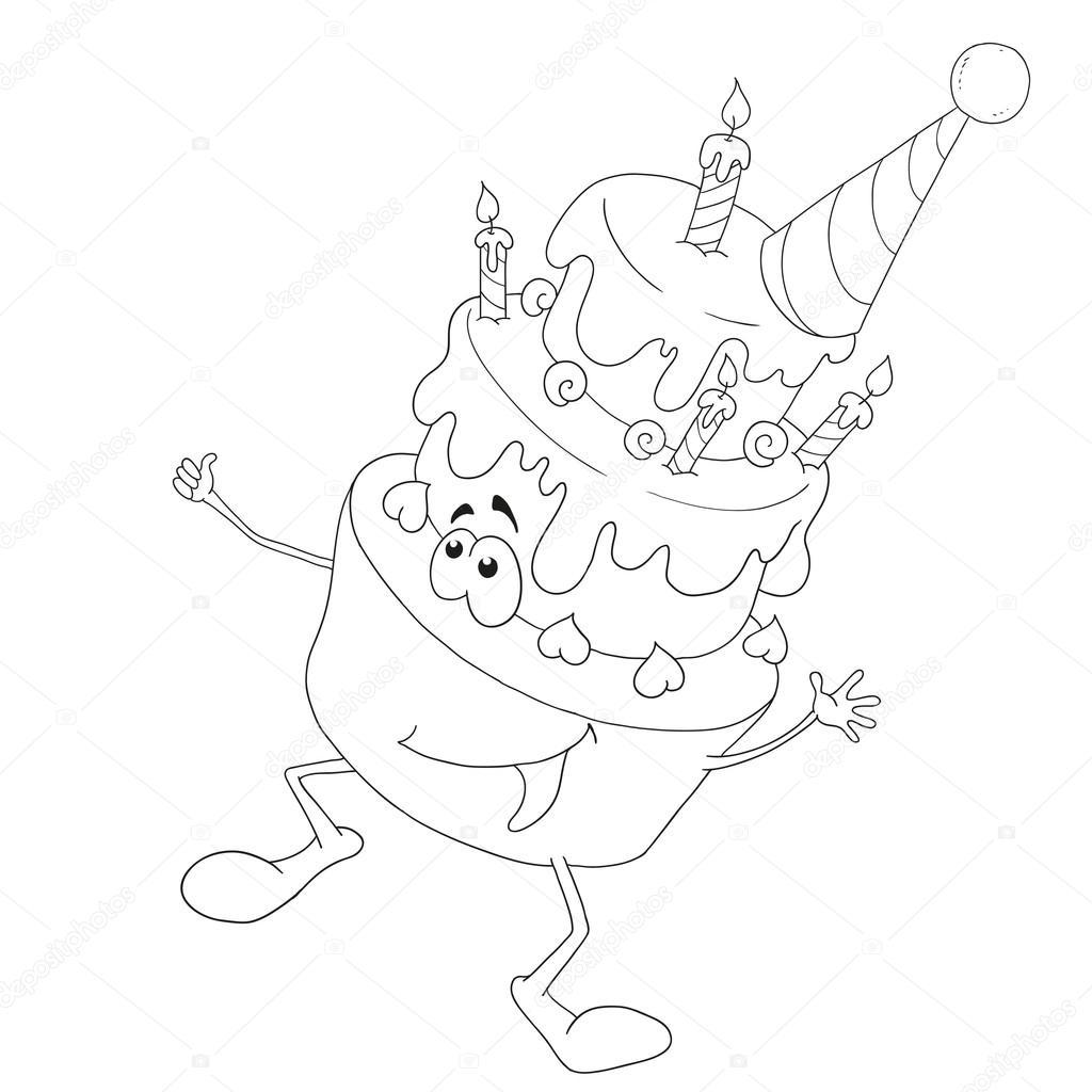 Neşeli çizgi Film Karakteri Kek Doğum Günü Pastası Mumlar Ile
