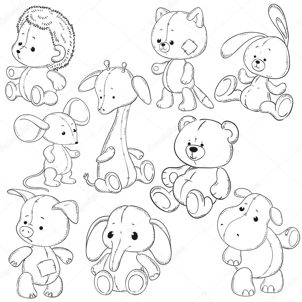 коллекция чучел животных мягкие игрушки раскраски