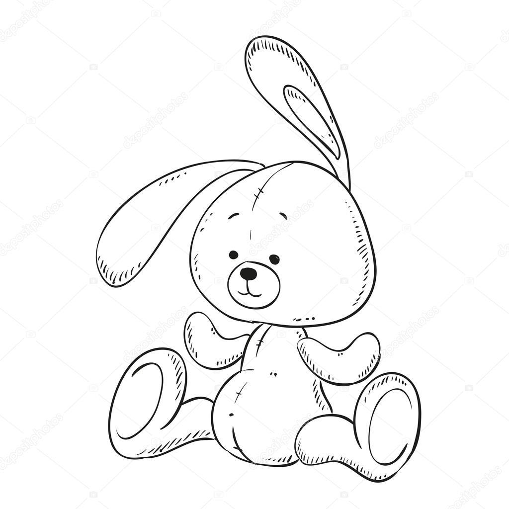Toy Bunny coloring book. Vector isolated. — Stock Vector © hibou-sun ...