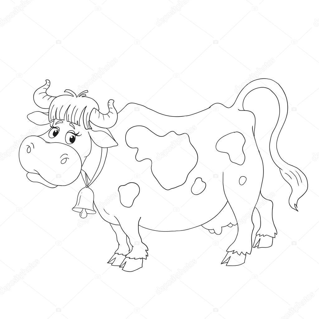 Personaje de dibujos animados la vaca. Vector de libro para colorear ...