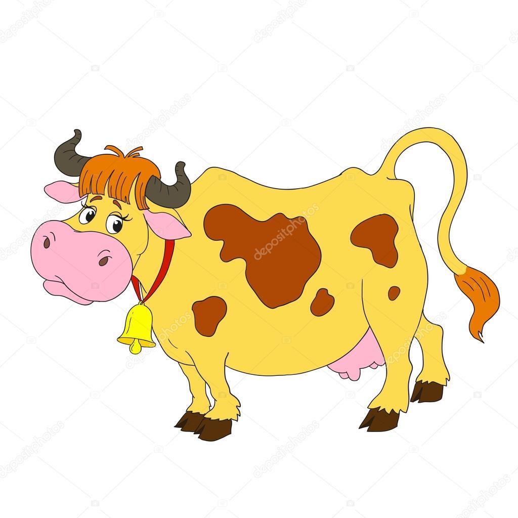 Vaca divertida del personajes de dibujos animados una