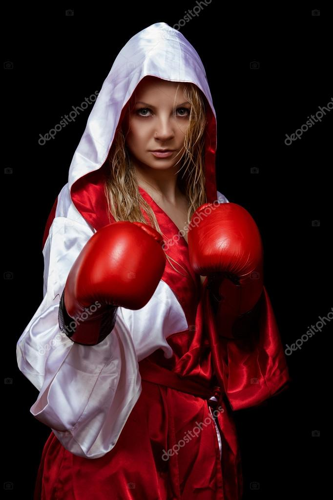 Woman in red silk bathrobe and gloves — Stock Photo © pasha.aquarius ... 2bab99194