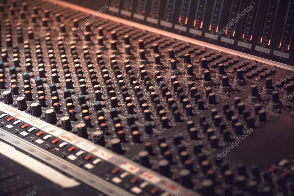 sound recording equipment music mixer controls stock photo