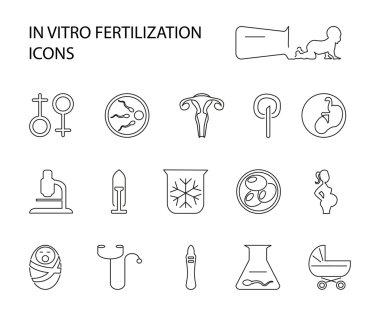 In vitro fertilization set icons.