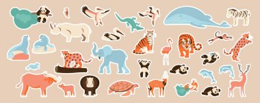 African animals and tigers cute stickers set. Cute sticky labels decorated with cartoon image. Signs, symbols, objects of fauna of the world. Flat Art Vector Illustration icon