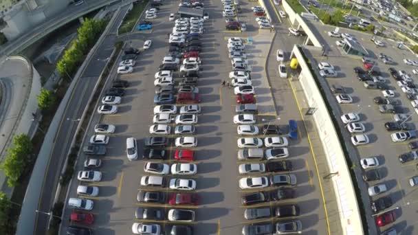 Aerial shot of car parking - Fish Eye