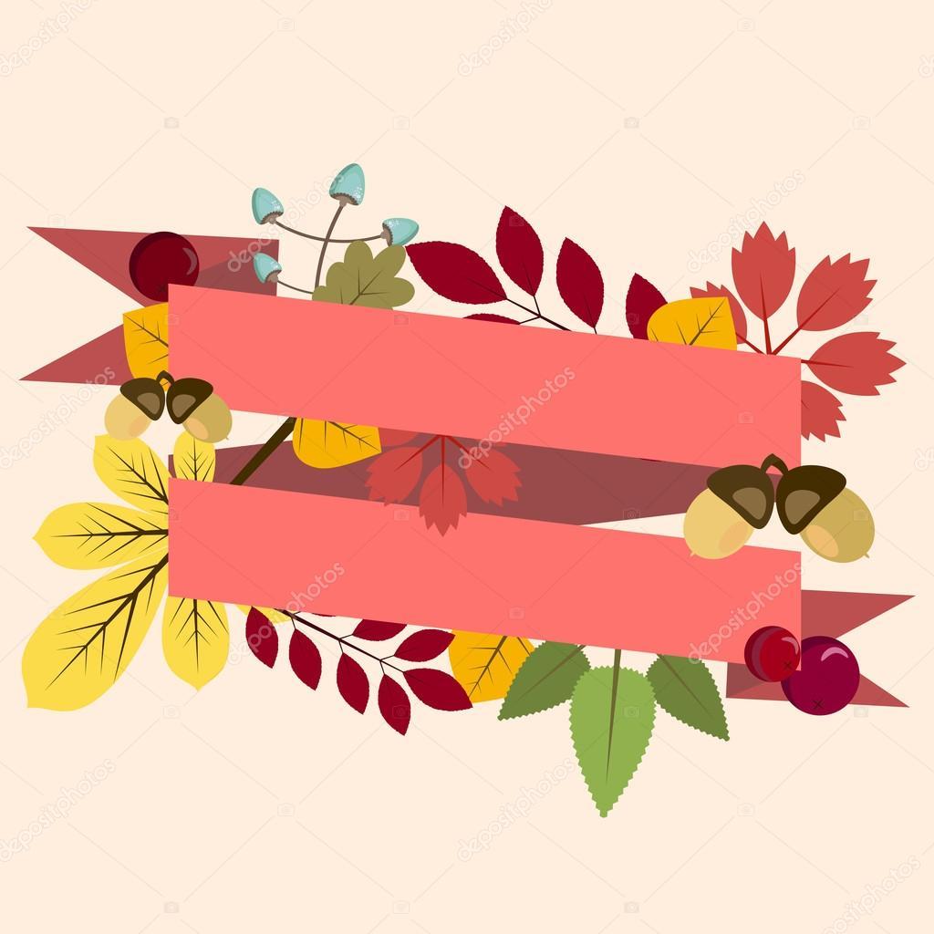 Postkarte, Einladung Vorlage mit Herbstlaub und Band — Stockvektor ...