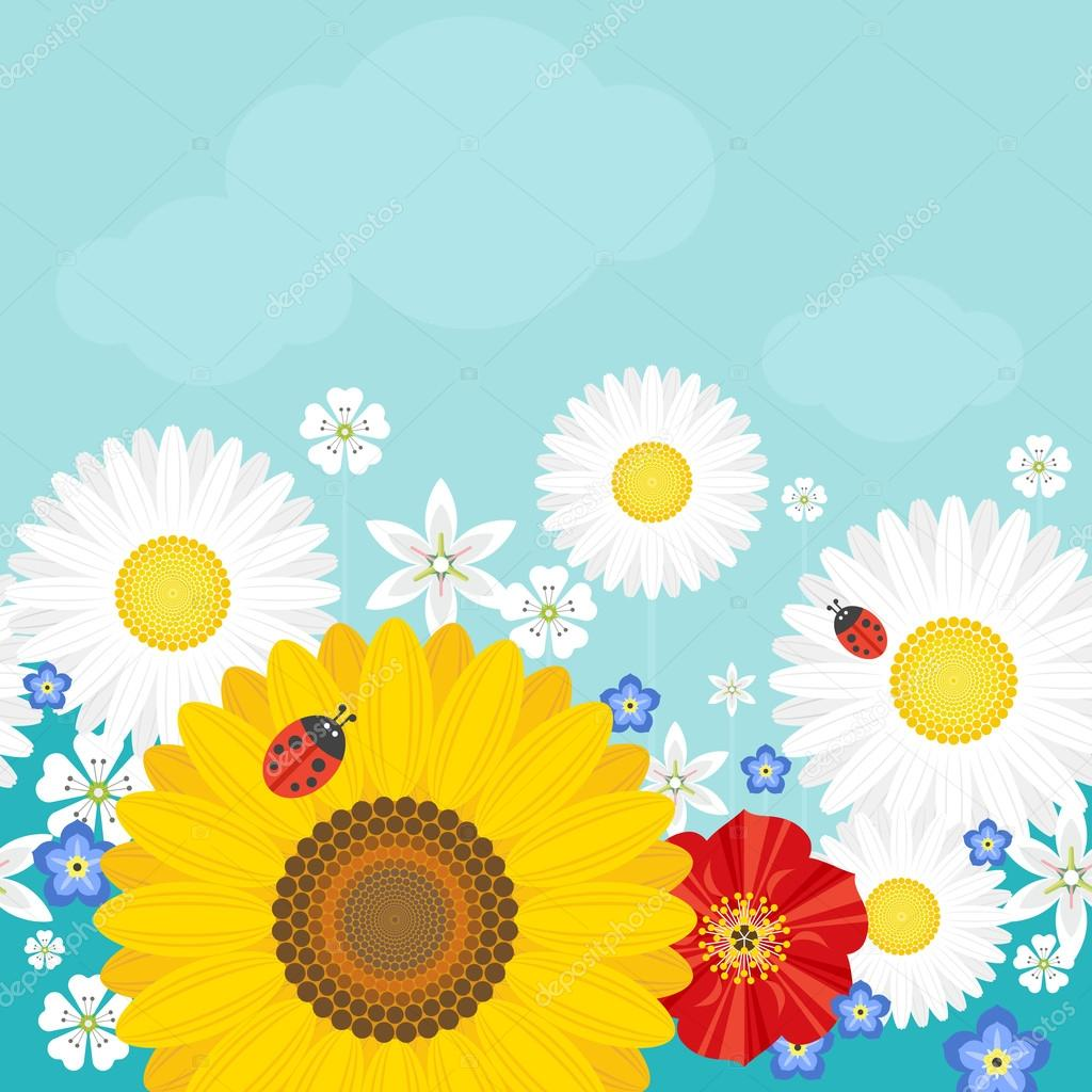 Summer background with flowers and ladybirds. Positive vector illustration