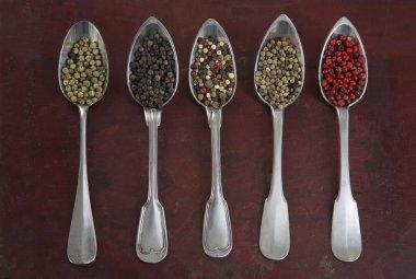 Seasonings in old metal spoons
