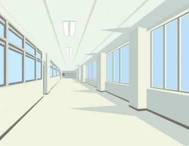 Interior of school or college hall.