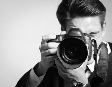 Man using professional camera
