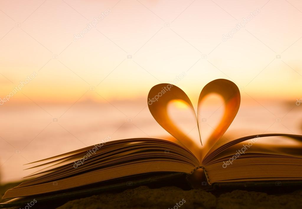 Heart from a book pages