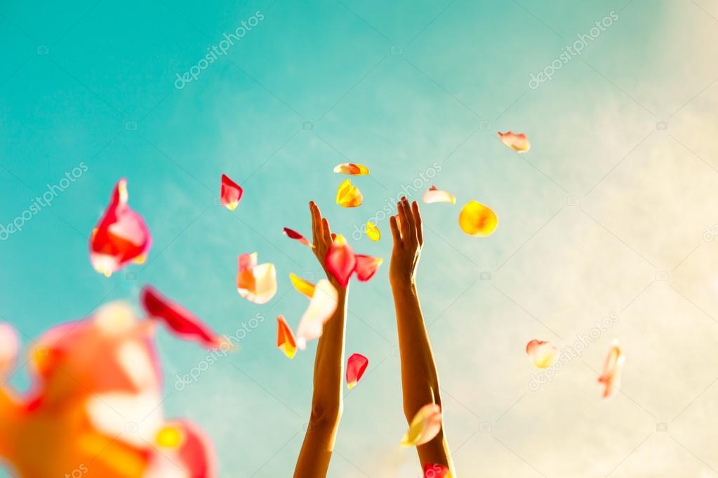 Hands throwing rose petals.